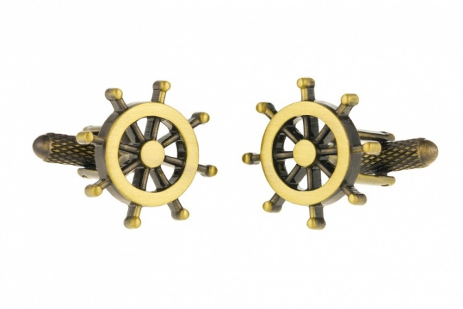 Burnished Gold Colour Ships Wheel Cufflinks